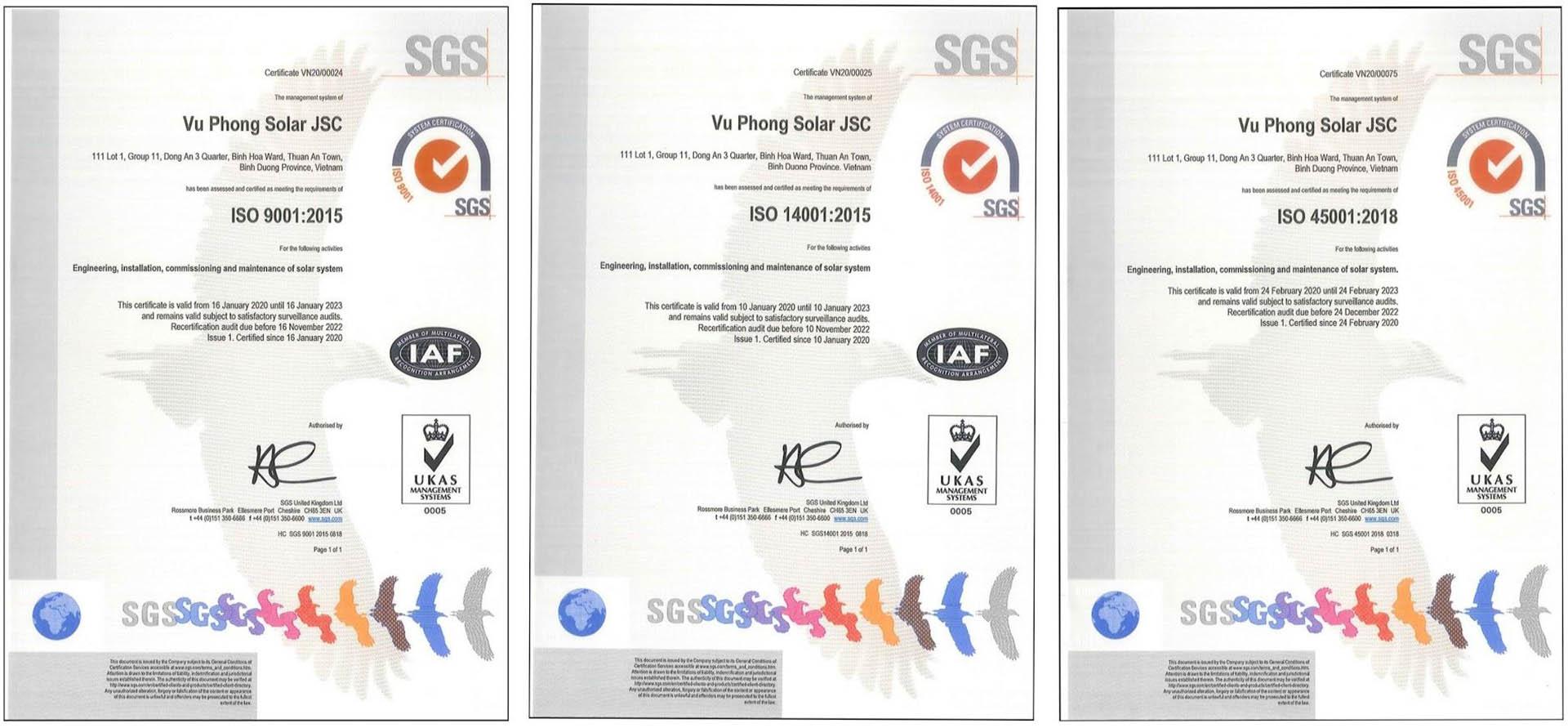 ISO certificate of Vu Phong